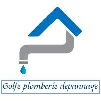 Logo de golfe plomberie, société de travaux en Fourniture et installation de lavabos, baignoires, douches, WC...