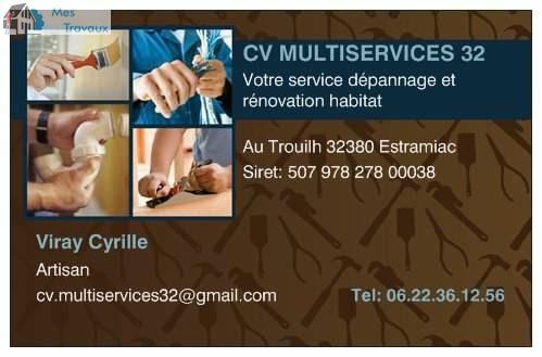 Logo de cv multiservices 32, société de travaux en Rénovation complète d'appartements, pavillons, bureaux