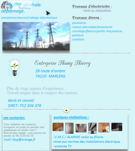 Logo de THIERRY-THUMY, société de travaux en Installation électrique : rénovation complète ou partielle