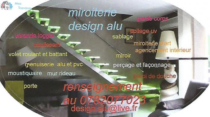 Logo de miroiterie design alu, société de travaux en Fourniture et installation d'un bloc porte