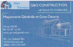 Logo de G&O CONSTRUCTION, société de travaux en Construction de maison