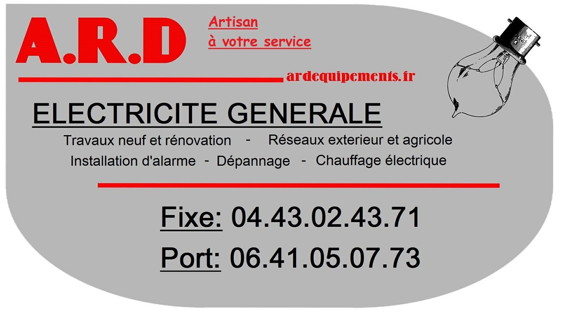 Logo de ard, société de travaux en Petits travaux en électricité (rajout de prises, de luminaires ...)