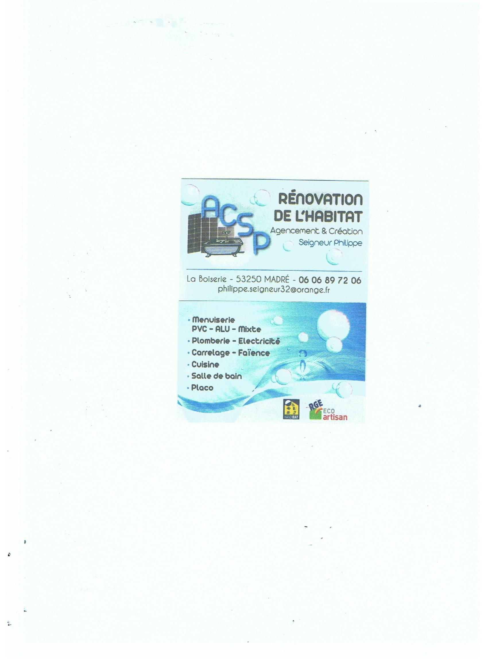 Logo de AGENCEMENT CRÉATION SEIGNEUR, société de travaux en Fourniture et installation de lavabos, baignoires, douches, WC...