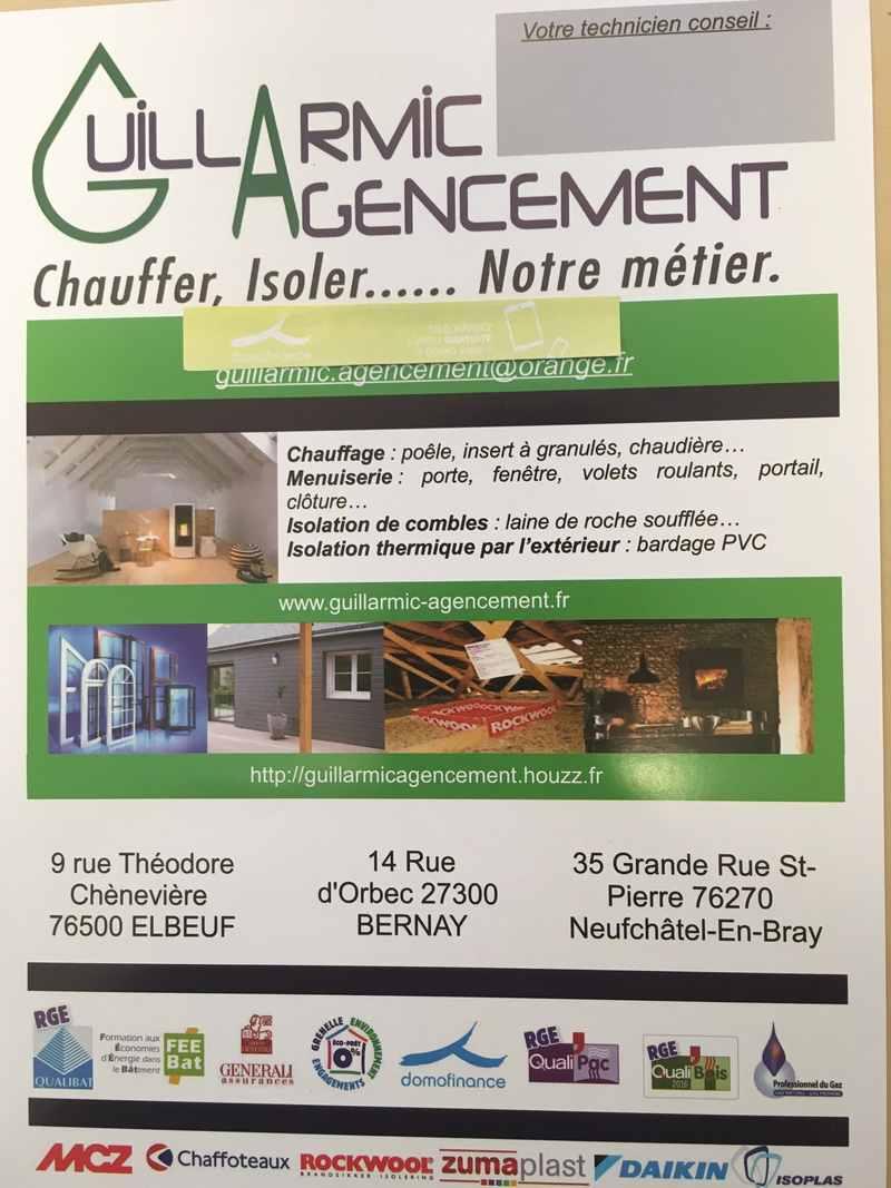Logo de Guillarmic agencement, société de travaux en Chauffage - Chaudière - Cheminée