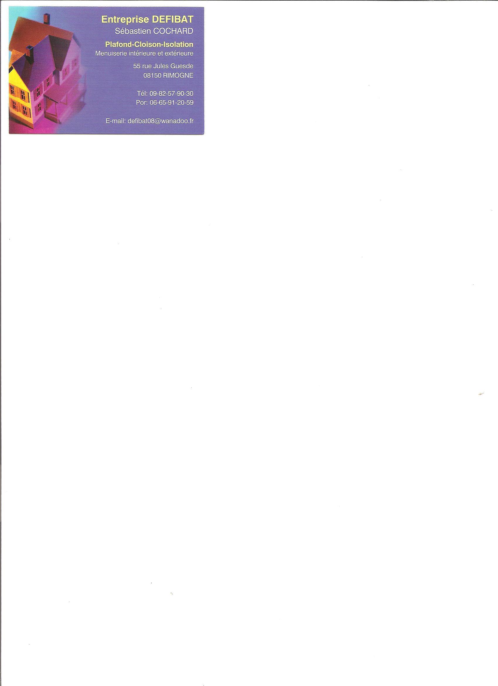 Logo de DEFIBAT, société de travaux en Combles : isolation thermique