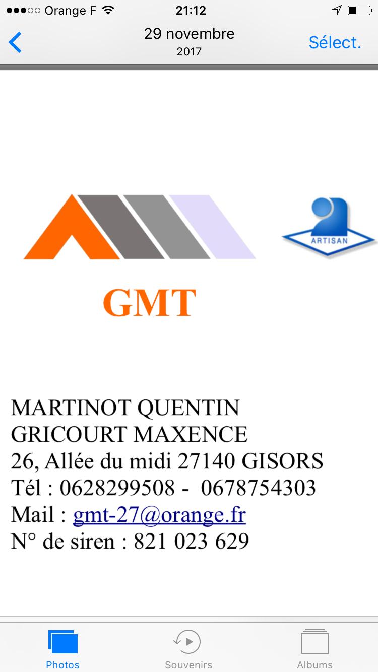 Logo de GMT, société de travaux en Couverture complète (tuiles, ardoises, zinc)