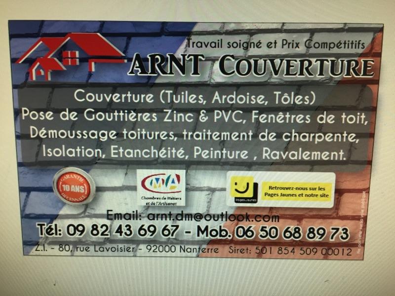 Logo de Arnt couverture, société de travaux en Nettoyage toitures et façades
