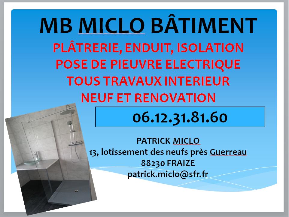 Logo de MB MICLO BATIMENT, société de travaux en Construction, murs, cloisons, plafonds en plaques de plâtre
