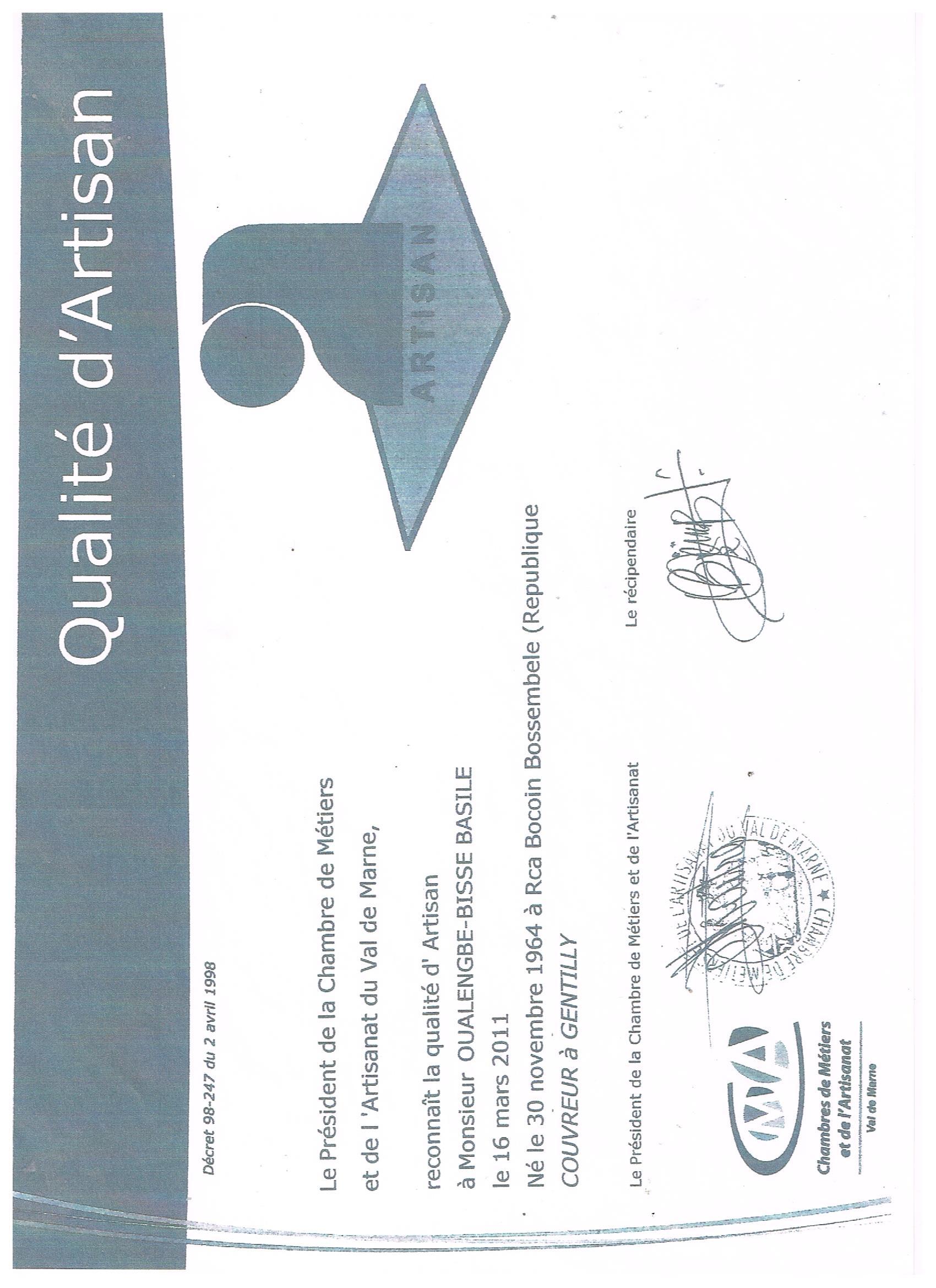 Logo de OUALENGBE-B.B.COUVERTURES ET TOUS CORPSD'ETAT., société de travaux en Couverture complète (tuiles, ardoises, zinc)