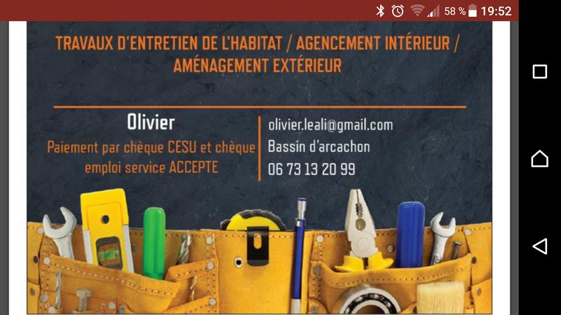 Logo de Olivier, société de travaux en Fourniture, création et pose de placards