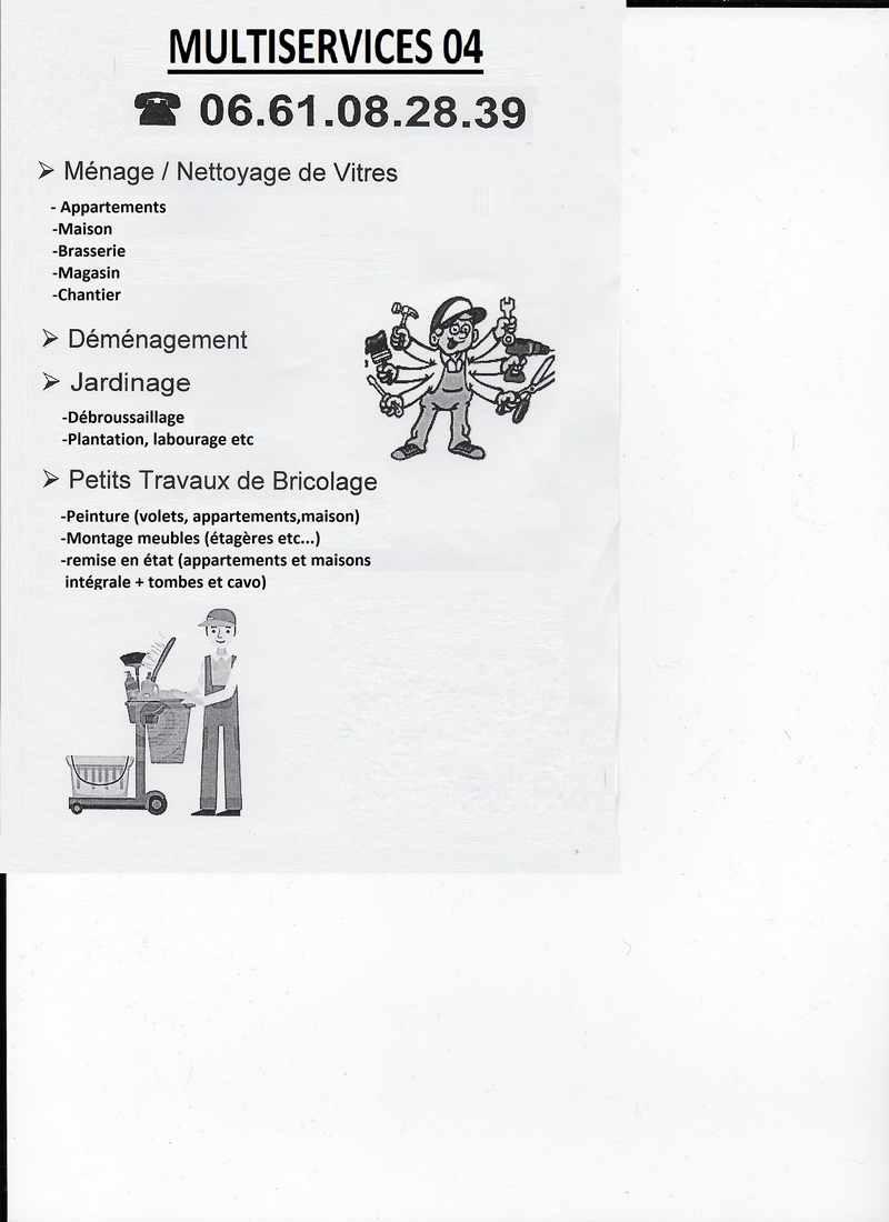 Logo de Multi services 04, société de travaux en Entretien de jardin (ponctuel ou à l'année)