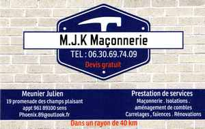 Logo de M.J.K Maçonnerie, société de travaux en Fourniture et pose de faux plafonds