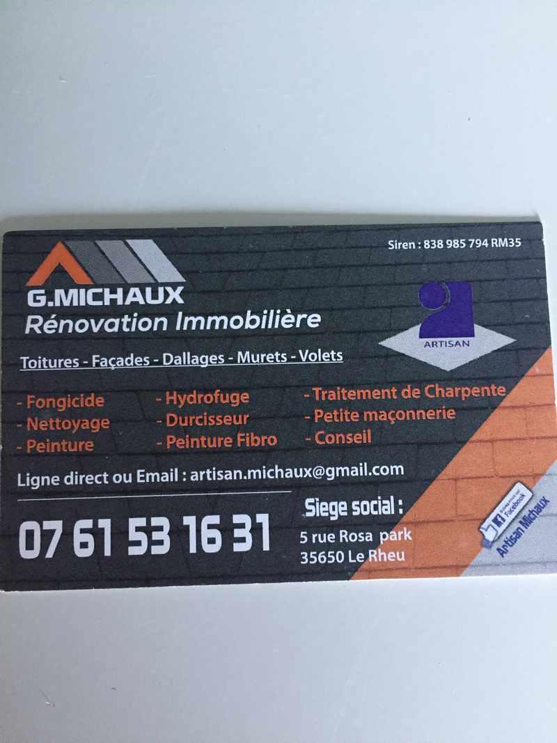 Logo de G.michaux rénovation immobilière, société de travaux en Nettoyage de toitures - façades - bardages