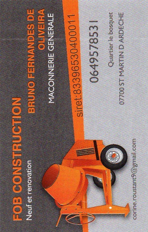 Logo de fob construction, société de travaux en Maçonnerie : construction de murs, cloisons, murage de porte