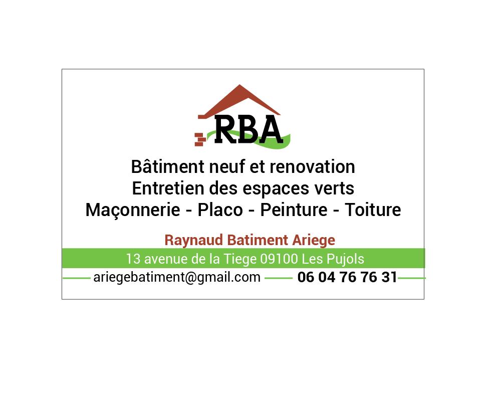 Logo de RBA BÂTIMENT neuf et rénovation, société de travaux en Construction, murs, cloisons, plafonds