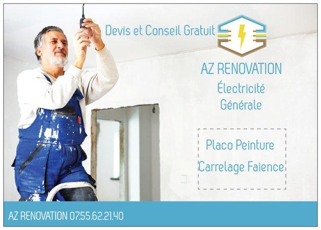 Logo de az renovation, société de travaux en Installation électrique : rénovation complète ou partielle