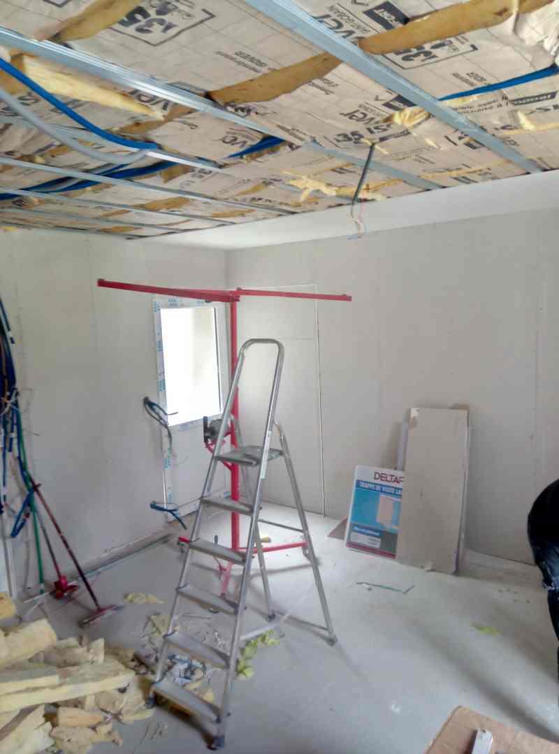 Logo de PJC plaquiste jointoyeur concept, société de travaux en Construction, murs, cloisons, plafonds