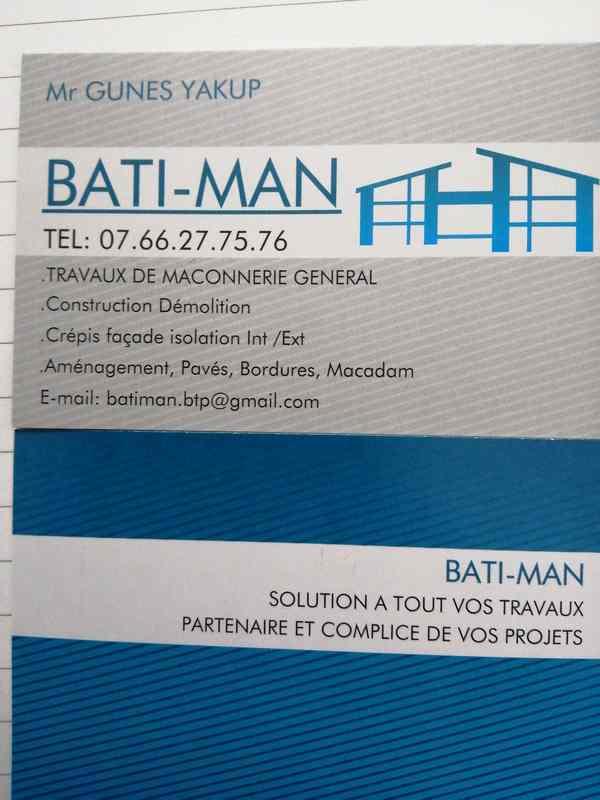 Logo de Bati-man, société de travaux en Construction, murs, cloisons, plafonds