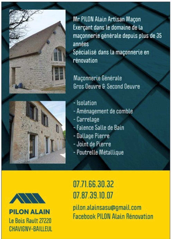Logo de SASU PILON ALAIN, société de travaux en Maçonnerie : construction de murs, cloisons, murage de porte