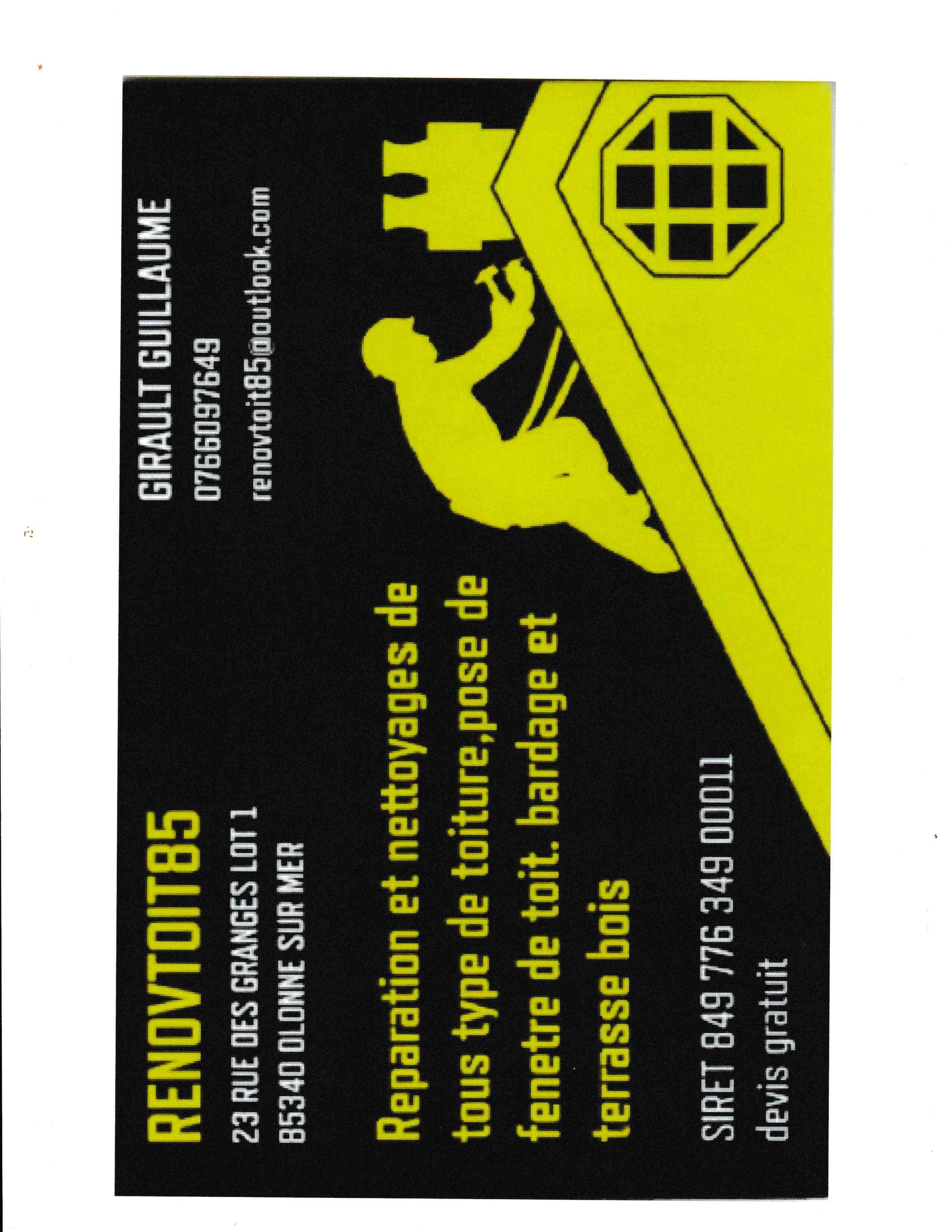 Logo de Renovtoit85, société de travaux en Décrassage ou démoussage de toiture