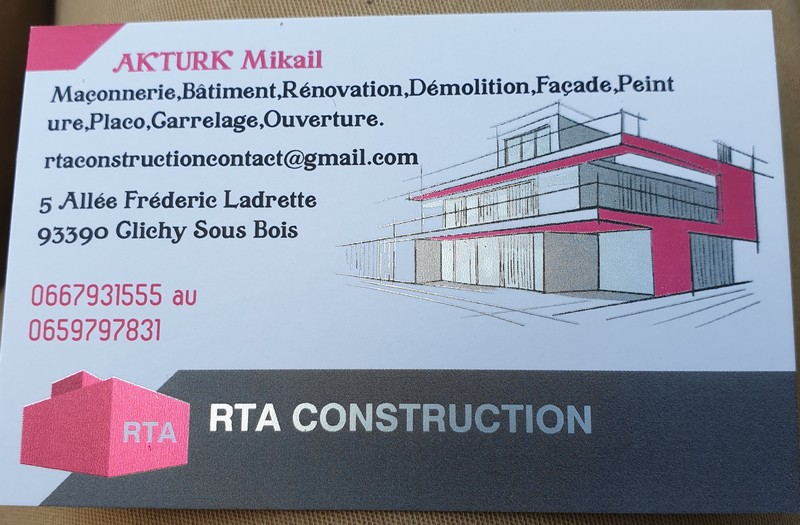 Logo de RTA, société de travaux en Maçonnerie : construction de murs, cloisons, murage de porte